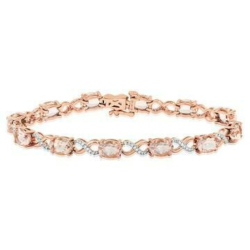 Oval Morganite Twist Bracelet with Diamond Accent Rose Gold
