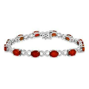 Oval Ruby Twist Bracelet with Diamond Accent White Gold