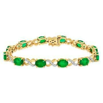 Oval Emerald Twist Bracelet with Diamond Accent Yellow Gold