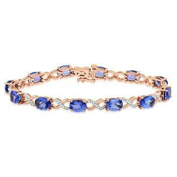 Oval Tanzanite Twist Bracelet with Diamond Accent Rose Gold