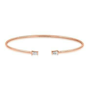 Diamond Accent Gold Bangle Rose Gold