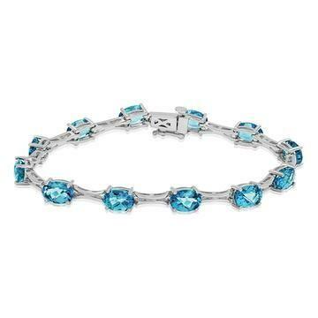 Oval Blue Topaz Bracelet White Gold