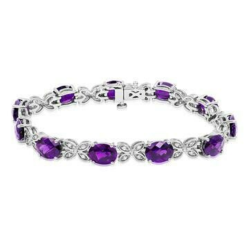 Oval Amethyst Butterfly Bracelet with White Sapphires