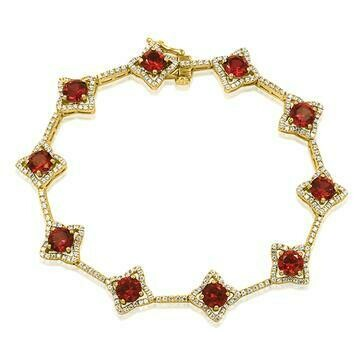 Cross Ruby Bracelet with Diamond Accent Yellow Gold