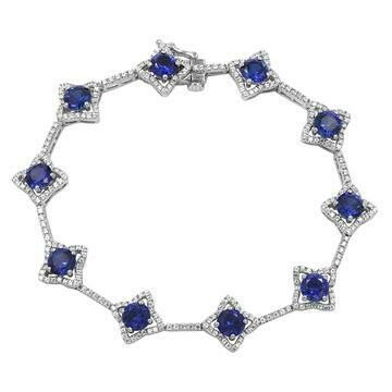 Cross Blue Sapphire Bracelet with Diamond Accent White Gold