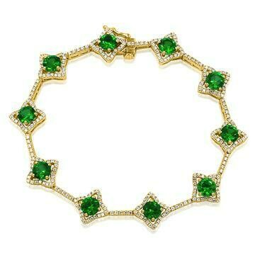 Cross Emerald Bracelet with Diamond Accent Yellow Gold