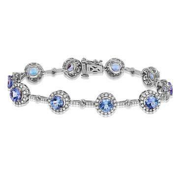 Tanzanite Halo Bracelet with Diamond Accent White Gold