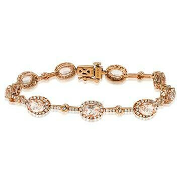 Oval Morganite Halo Bracelet with Diamond Accent Rose Gold