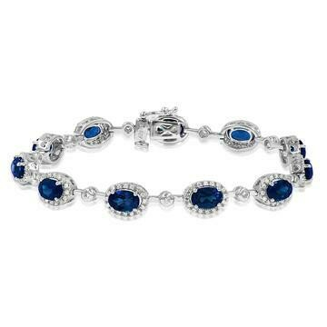 Oval Blue Sapphire Halo Bracelet with Diamond Accent White Gold