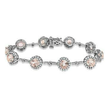 Morganite Halo Bracelet with Diamond Accent White Gold