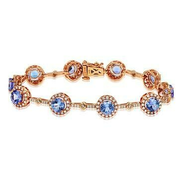 Tanzanite Halo Bracelet with Diamond Accent Rose Gold