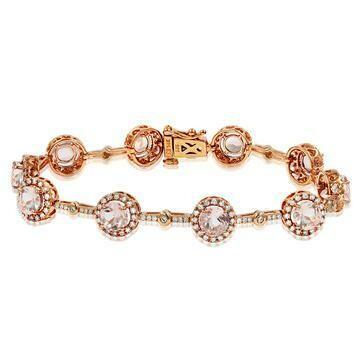 Morganite Halo Bracelet with Diamond Accent Rose Gold
