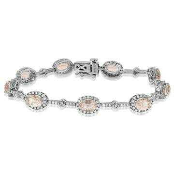 Oval Morganite Halo Bracelet with Diamond Accent White Gold