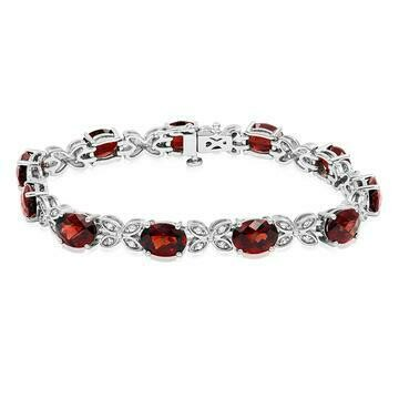 Oval Garnet Butterfly Bracelet with White Sapphires