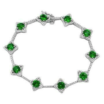 Cross Emerald Bracelet with Diamond Accent White Gold