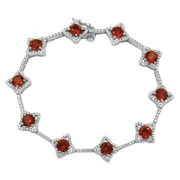 Cross Ruby Bracelet with Diamond Accent White Gold