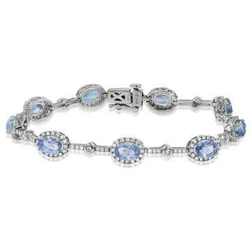 Oval Tanzanite Halo Bracelet with Diamond Accent White Gold