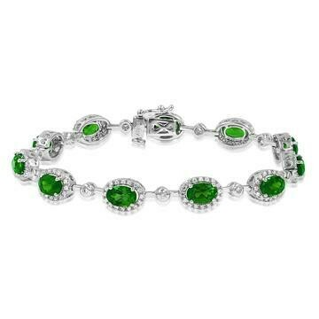 Oval Emerald Halo Bracelet with Diamond Accent White Gold
