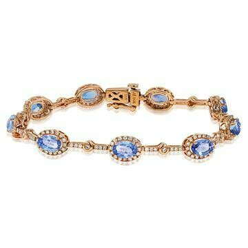 Oval Tanzanite Halo Bracelet with Diamond Accent Rose Gold
