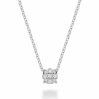 Illusion Diamond Pendant White Gold