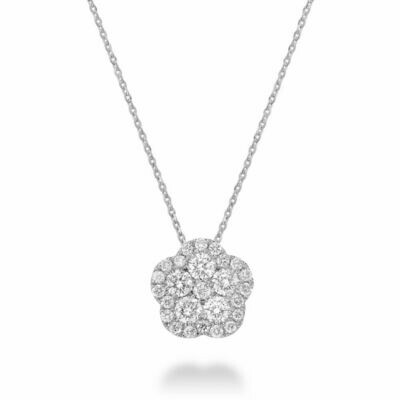 Hollow Flower Diamond Pendant 0.50 CTDI White Gold