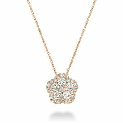 Hollow Flower Diamond Pendant 0.15 CTDI Rose Gold
