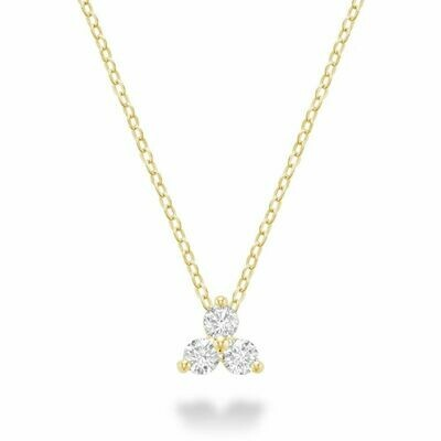 Three Stone Diamond Pendant Yellow Gold