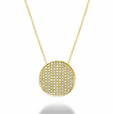 Curved Disk Diamond Pendant 0.35 CTDI Yellow Gold