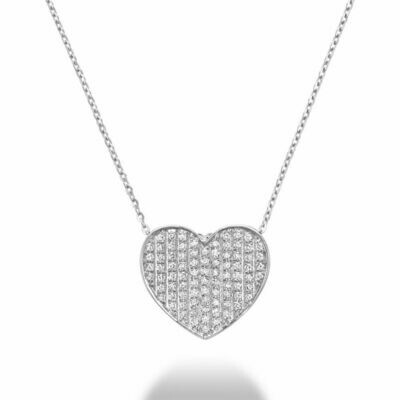 Curved Heart-Shaped Diamond Pendant White Gold