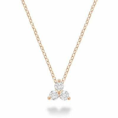 Three Stone Diamond Pendant Rose Gold