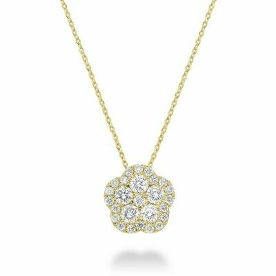Hollow Flower Diamond Pendant 0.15 CTDI Yellow Gold