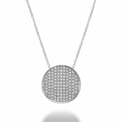 Curved Disk Diamond Pendant 0.25 CTDI White Gold