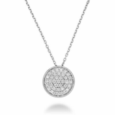 Circle Diamond Milgrain Pendant White Gold