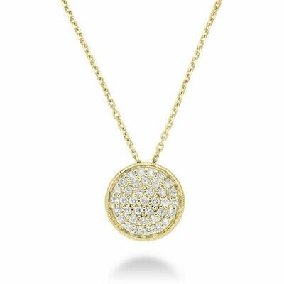 Circle Diamond Milgrain Pendant Yellow Gold