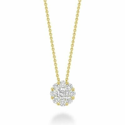 Cluster Diamond Pendant 0.75 CTDI Yellow Gold
