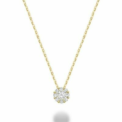 Cluster Diamond Pendant 0.50 CTDI Yellow Gold