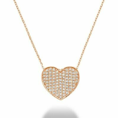Curved Heart-Shaped Diamond Pendant Rose Gold