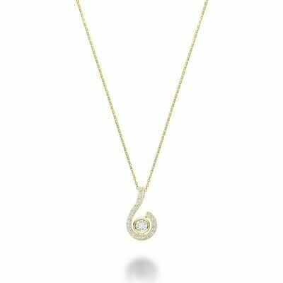 Drop Diamond Pendant Yellow Gold
