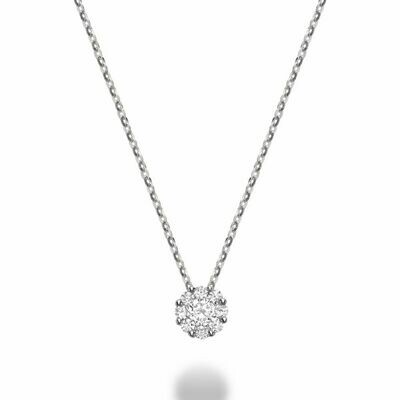 Cluster Diamond Pendant 0.25 CTDI White Gold