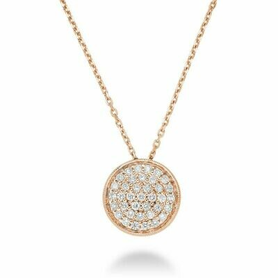 Circle Diamond Milgrain Pendant Rose Gold
