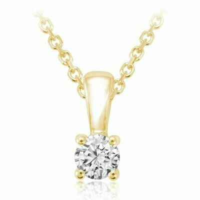 Solitaire Diamond Pendant 0.10 CTDI Yellow Gold