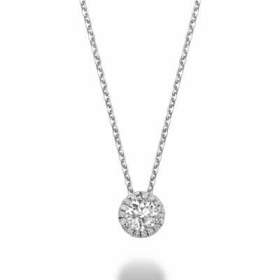 Martini Cup Diamond Halo Pendant 0.15 CTDI White Gold