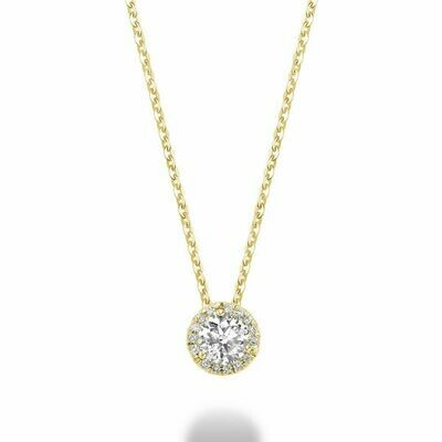 Martini Cup Diamond Halo Pendant 0.75 CTDI Yellow Gold