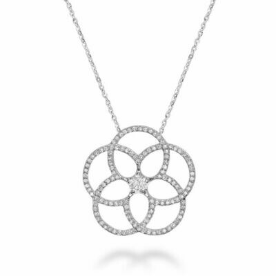 Big Flower Diamond Pendant 0.75CTDI White Gold