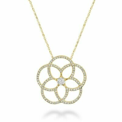 Big Flower Diamond Pendant 0.50CTDI Yellow Gold