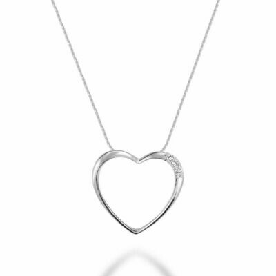 Diamond Heart Pendant 0.05CTDI White Gold