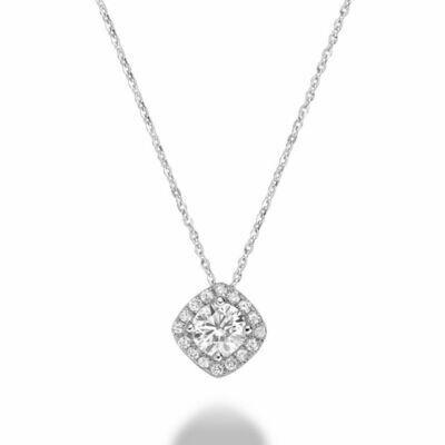Cushion Cut Diamond Pendant 0.75CTDI White Gold