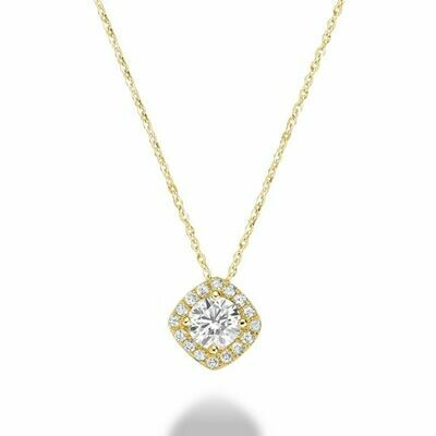 Cushion Cut Diamond Pendant 0.35CTDI Yellow Gold