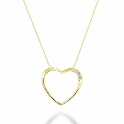 Diamond Heart Pendant 0.05CTDI Yellow Gold