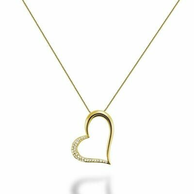 Diamond Heart Pendant 0.10CTDI Yellow Gold